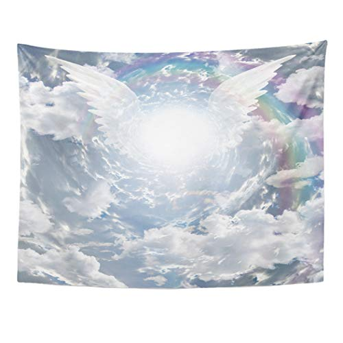 (Emvency Tapestry Wall Hanging Art Nature Home Angel Angelic Presence in Tunnel of Light Wing Heaven for Living Room Bedroom Dorm Decor in 60 x 80 Inches)