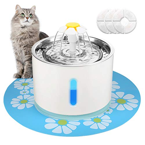 Supsoo Pet Water Fountain Stainless Steel Cat Water Fountain Water Dispenser Intelligent Power Off with 3 Replacement…