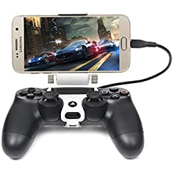 Megadream [2nd Generation] Smart Phone Mini Tablet Clamp Clip Holder for Playstation 4 Controller, 180 Degree Adjustable Mount Stand Maximum 7.9 inch Nokia N1, Samsung Galaxy Tab 4, Kindle Fire-White