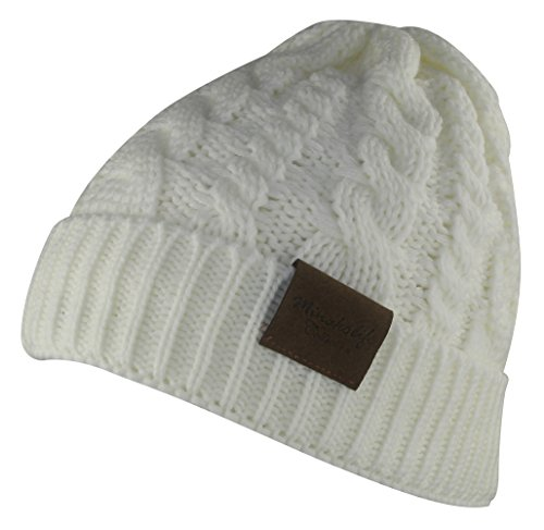 Ladies Camo Cap - MINAKOLIFE Women's Winter Beanie Warm Fleece Lining - Thick Slouchy Cable Knit Skull Hat Ski Cap (White)