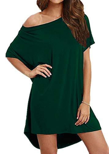 BLUETIME Women's Casual One Shoulder T Shirt Dress Batwing Sleeve High Low Short Mini Dress (L, Dark Green)