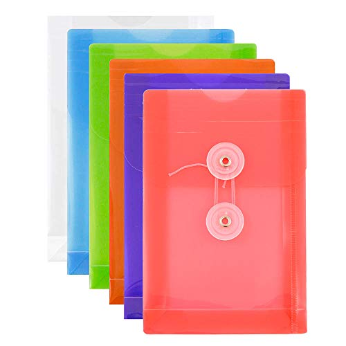 (JAM PAPER Plastic Envelopes with Button & String Tie Closure - 4 1/4 x 6 1/4 - Assorted Colors - 6/Pack)