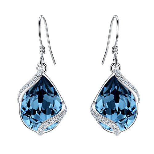 EVER FAITH 925 Sterling Silver CZ Twist Teardrop Hook Dangle Earrings Denim Blue Adorned with Swarovski crystals (Victorian Crystal Blue)