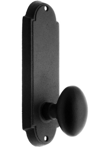 Wrought Steel Colonial Door Set with Oval Knobs Privacy in Matte Black