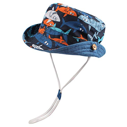 RAOEXI Sun Protection Hat for Toddler Boys Girls Wide Brim Summer Play Hat Animal Baby Bucket Hat with Chin Strap (Shark, L(1-2 T))