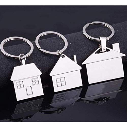 ISKYBOB Set of 3 House Design Key Chain Creative Metal Keyring Gift