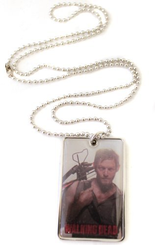 Walking Dead Enamel Photo Dog Tag Necklace Daryl Dixon w/ Crossbow]()