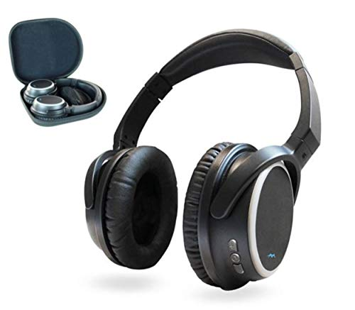 Miccus TV Wireless Headphones Over Ear, Listen in HD w/NO DELAY, aptx Low Latency Bluetooth Headphones with Mic, Noise Isolating for Phone PC Computer Gaming Airplane Headset (SR-71 Stealth)