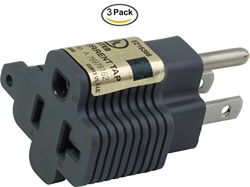 AC WORKS 3PK 15 Amp Household Male Plug to 20 Amp T-Blade Female Adapter by AC WORKS
