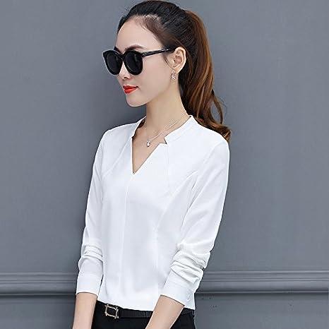 XXIN La Camisa Blanca De Manga Larga Mujer Camiseta con ...