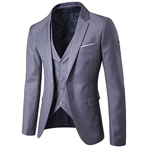 Fit Occasionnels Mariage gilet Formel Boutons Blazer Rera Costume Business  3 Veste Gris Classique Unie Slim Homme Pièces pantalon Décontracté D affaire  ... abff8e4a19f
