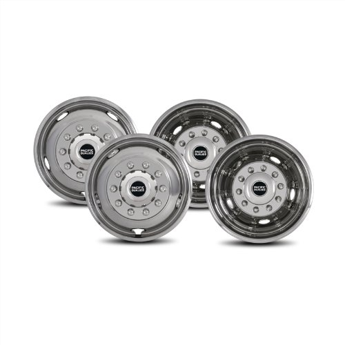 Pacific Dualies 43-1950 Polished 19.5 Inch 10 Lug Stainless Steel Wheel Simulator Kit for 2005-2019 Ford F450/F550 Truck (Does not fil RV/Motorhome) (Stock F250 Rims)