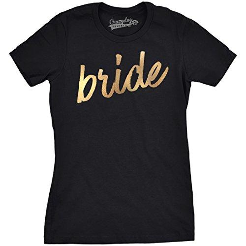 Crazy Dog TShirts - Womens Bride Script Gold Shimmer Application Wedding Day Marriage T shirt - Camiseta Para Mujer
