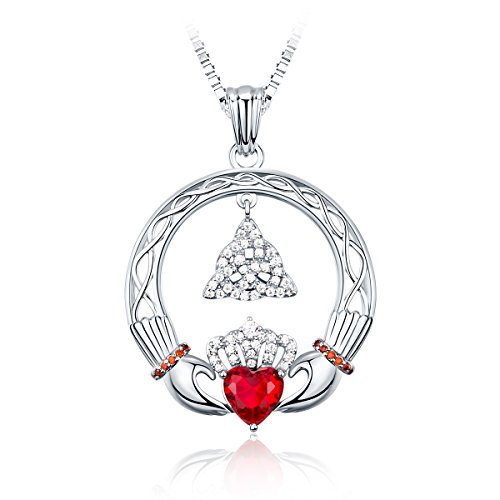 Irish Claddagh Friendship Good Luck Triangle Celtic Knot CZ Necklace, BFF/Anniversary Gift for Women, 18