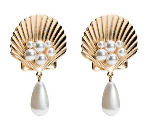 MELLOW SHOP Simulated Pearl Shell Drop Earrings Charming Pour les Femmes Women Girl Oecan Gifts