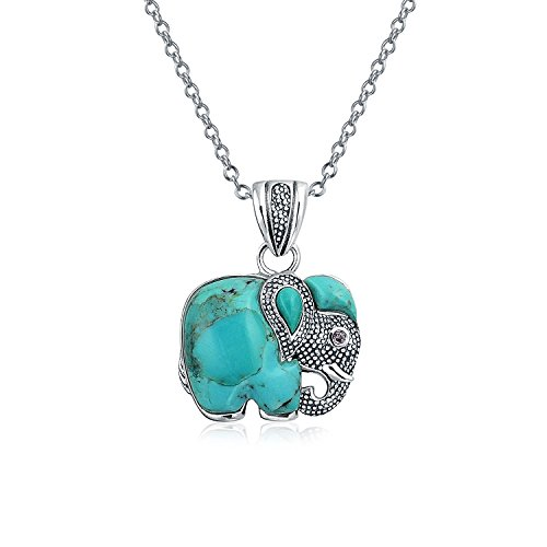 Bali Indian Style Tribal Elephant Stabilized Turquoise Pendant Oxidized Sterling Silver Necklace For Women With Chain