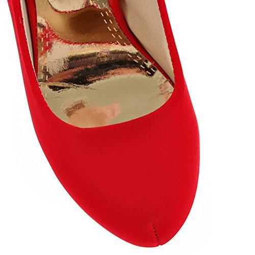 AllhqFashion Damen Hoher Absatz Eingelegt Ziehen auf Rund Zehe Pumps Schuhe Rot