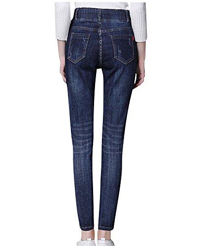 Femme Taille Pantalons Cordon Slim Jeans Bleu Crayon Haute Fonc Casual Pantalons aArpyacS