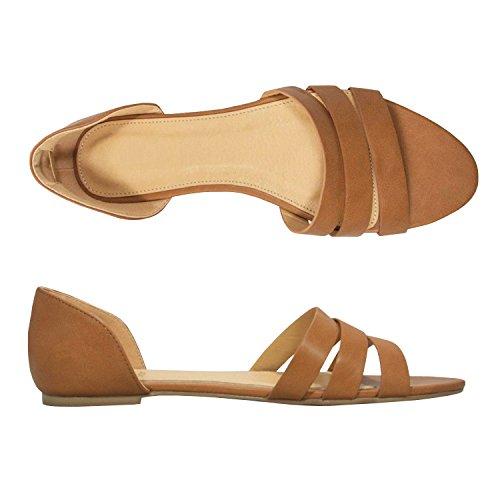 Chellysun Open Sandalen Voor Dames Open Schoenen Platte Instappers Loafer Enkelschoenen Geel