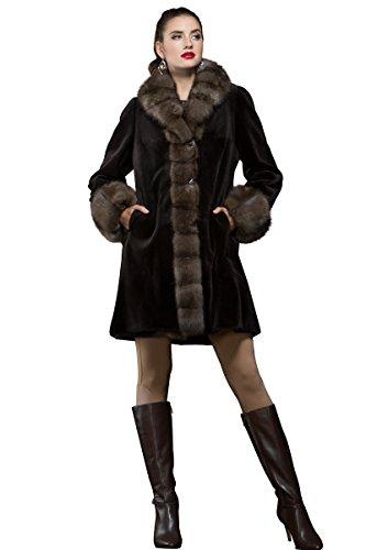 EM-EL Women's Reversible Brown Sheared Mink and Sable Mid-Length Fur Coat ()