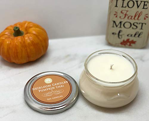 Pumpkin Chai Scented Soy Candle in Glass Jar, Handmade - 6oz