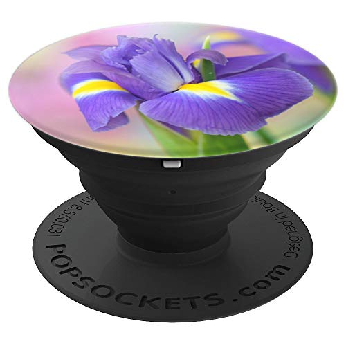 So Pretty Purple With Yellow Dutch Iris Flower On Blur - PopSockets Grip and Stand for Phones and Tablets