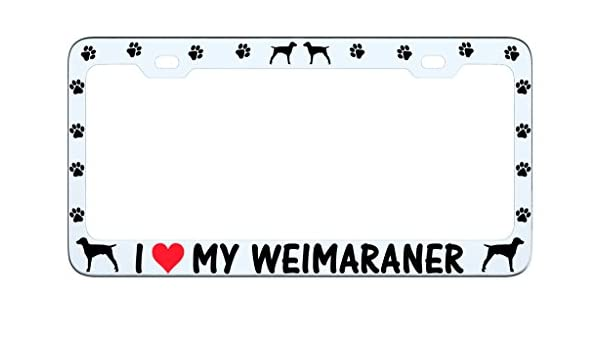 Black License Plate Frame I Heart My Weimaraner Paw Auto Accessory 600