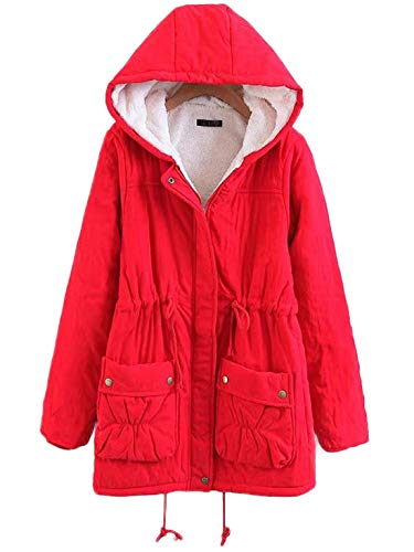 Chartou Women's Lovely Thicken Zip-Fly Hooded Lambswool Fleece Lined Long Jacket Coat Outwear (XX-Large, - Peacoat Womens Red
