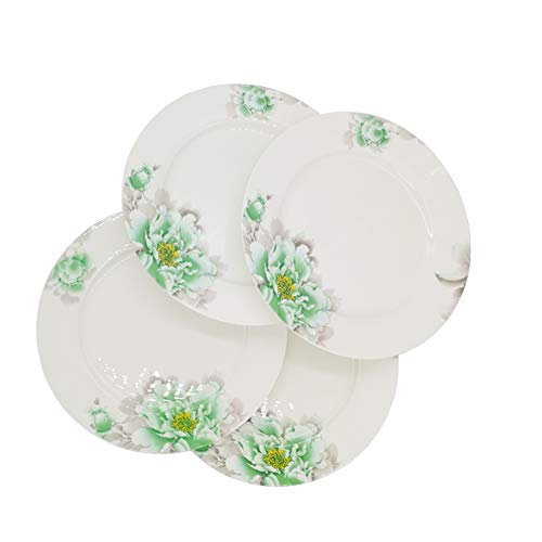 FINECASA Bone China 10 inch Platter Steak/Butterfly/Dinner Plate Chinese Style Green Peony Series Plates Set of 4