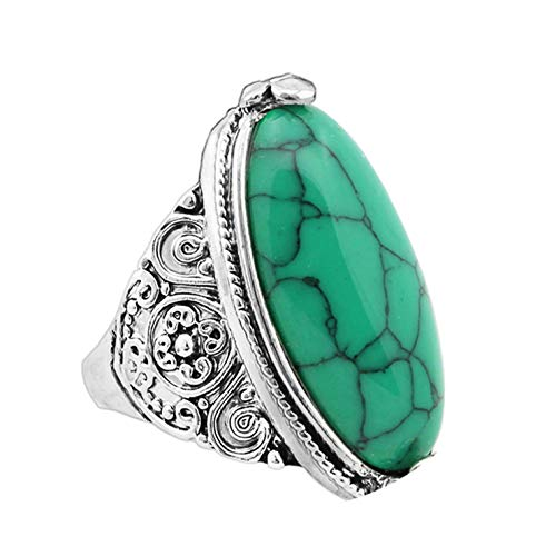 Flower Band Oval Natural Stone Rings for Women Vintage Look Antique Silver Plated 5 Colors Fashion Jewelr