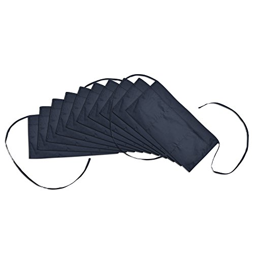 Waist Aprons Commercial Restaurant Home Bib Spun Poly Cotton Kitchen (3 Pockets)in Navy Blue 10 Pack (Blue 3 Pocket Waist Apron)
