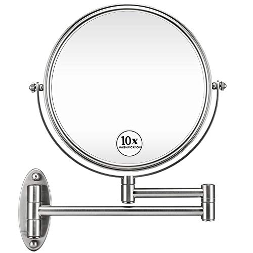 GloRiastar 10X Wall Mounted Makeup Mirror - Double Sided Magnifying Makeup Mirror -