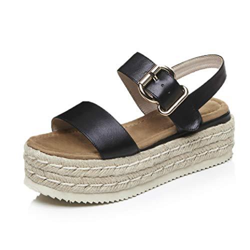 Crimeng Women Platfrom Heeled Sandals Summer Straw Braid Beach Sandals