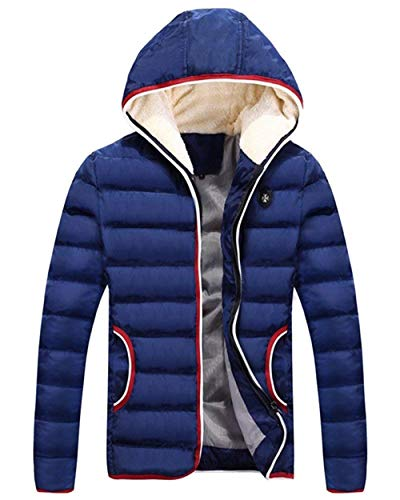 Coat Outdoor Jacket Jacket Zipper Saphirblau Pockets Men's Front Apparel Outwear with Winter Jacket Coat Hooded Coat Warm wqt0HgO