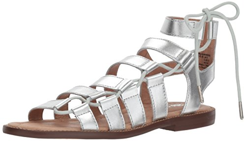 (Amazon Brand - 206 Collective Women's Myrtle Gladiator Fashion Sandal Flat, silver leather, 9 B US)