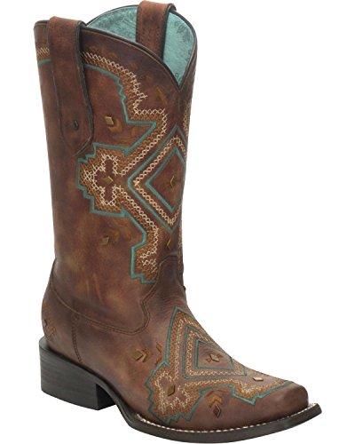 Innhegningen Kvinners Distressed Studded Diamant Cowgirl Boot Firkantet Tå - C3126 Brun