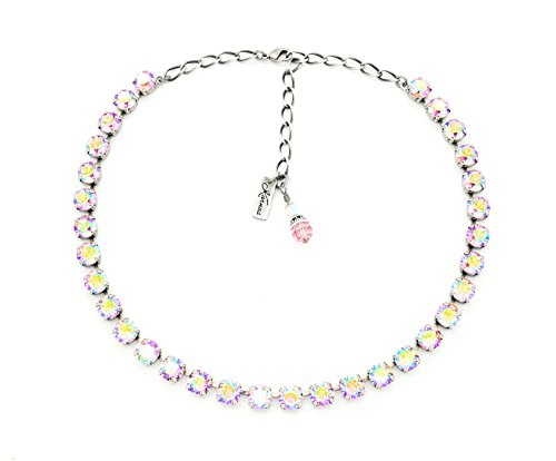 LIGHT ROSE AB 8mm Crystal Chaton Necklace Made With Swarovski Elements *Pick Your Finish *Karnas Design Studio ()