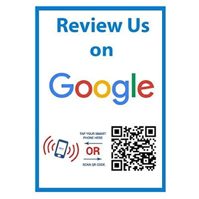 Review Us On Google Sticker - Social Media QR Code and NFC Tag - Storefront Window Sticker - Two-Sided Window Sticker - Custom-Designed for Google: Office Products