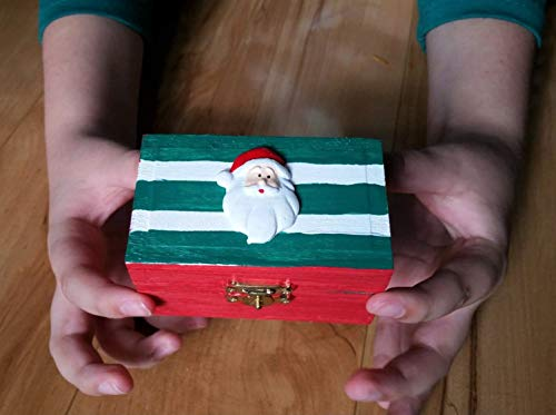 - Christmas Wooden Mini Treasure Chest Toy Treat Box- Santa Claus- Red with Green and White Stripes