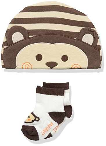 Lovespun Boys' Perfect Picture 2 Piece Hat and Sock Set, Monkey, 0-12 Months
