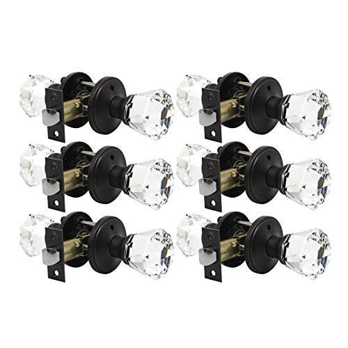 6 Pack Providence Octagon Crystal Door Knob Set with Georgian Roped Rosette in Oil Rubbed Bronze (Privacy Bed/Bath)