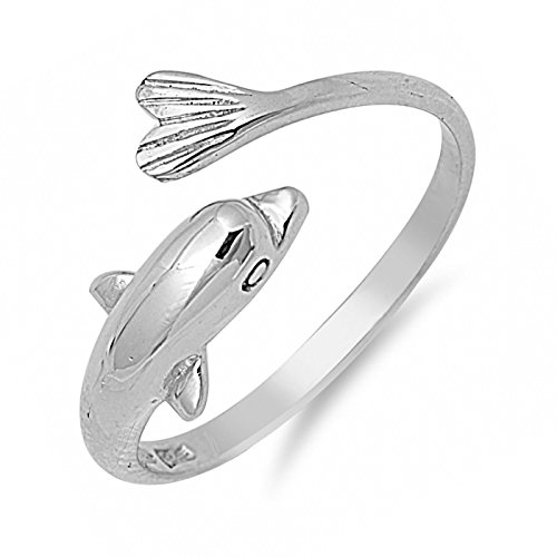 Wraparound Dolphin Sterling Silver Womens Open Adjustable Ring Size (Wrap Around Dolphin)