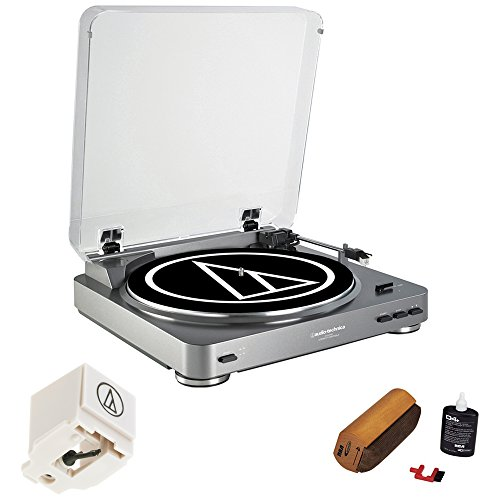 Audio-Technica AT-LP60 Turntable Premium Bundle with Extra Stylus Needle And Deluxe Cleaning System Dj Turntable Cartridge Package