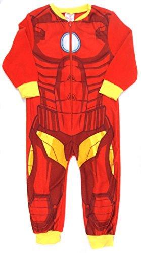 Superhero Boys Iron Man Avengers All In One Sleepsuit Soft Fleece (5-6 Years, Iron - Clothing Uk Ironman
