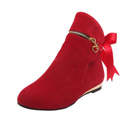 c22b153f8774 YE Damen Flache Ankle Boots Stiefeletten mit Schnürung und Schmuck  Reißverschluss Bequem Modern Schuhe Rot
