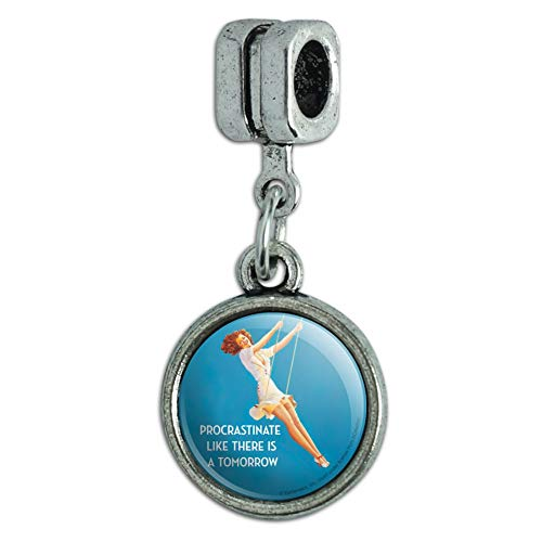 GRAPHICS MORE Procrastinate Like There Is A Tomorrow Funny Humor Italian Bracelet Charm Bead