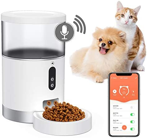 Peteme Automatic Cat Feeder, Wi-Fi Enabled Smart Pet Feeder for Cats Small Pets, Portion Control Up to 6 Meals per Day, App Control, Scheduled Feeding, Voice Recorder, Works with Alexa