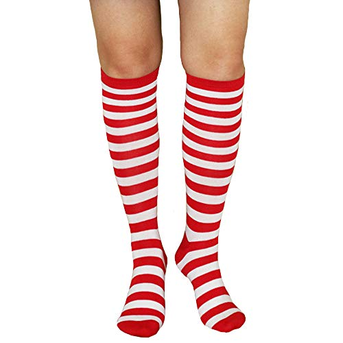 Unisex Knee High Socks Womens Girls Striped Over Calve Athletic Soccer Tube Cool Fun Party Cosplay Socks, Red+White,One Size 6-11]()