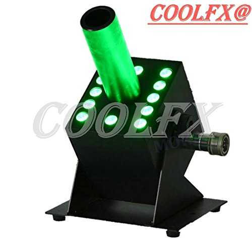 COOLFX@ LED CO2 Jet Machine with 12x3W Full Color LED 5m Gas Hose DMX Control Adjustable Angle for Party/Disco/DJ Event Show