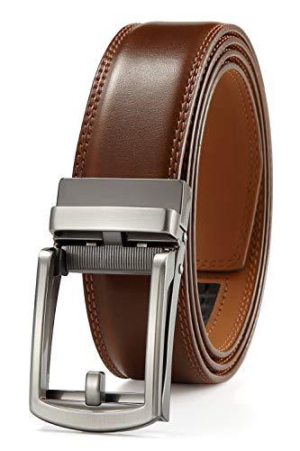 Men's Belt Ratchet Dress Belt with Automatic Buckle Brown/Black-Trim to Fit-35mm wide-0040-110-Light Brown